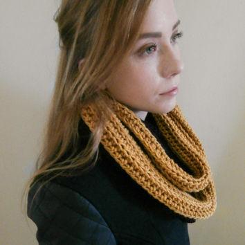 Chunky Infinity Scarf, Mustard and Black Infinity Scarf, Color Block Infinity scarf, two tone scarf,mens scarf, womens scarf,unisex scarf