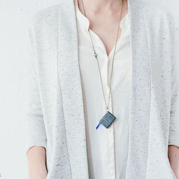 Tiny pastel gray leather book necklace - handmade jewelry