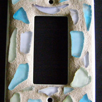 Sea Glass Mosaic Switch Plate, Single Gang Opening, Mosaic Switchplate, Home Decor, Shell Decor, Outlet Cover