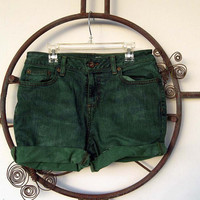 Custom Green Denim Shorts with Pyramid Studs