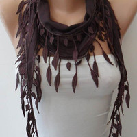 Brown-Dark Purple Scarf with Trim Edge