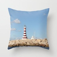 Society6 - Picturesque Lighthouse In The Caribbean Throw Pillow by Christine Aka Stine1