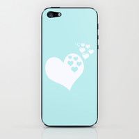 Turquoise Aqua Blue Hearts of Love iPhone & iPod Skin by BeautifulHomes