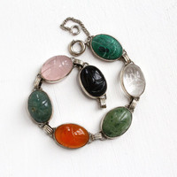 Vintage Sterling Silver Scarab Bracelet - Retro 1960s Oval Carved Beetle Colorful Rose Quartz, Carnelian Egyptian Revival Jewelry