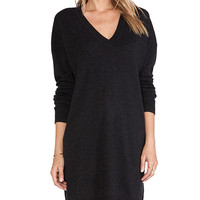 Vince V Neck Tunic in Charcoal