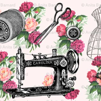 Vintage Sewing and Roses on PInk - 13moons_design - Spoonflower