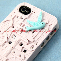 white European Style Building Hard Case for Apple iPhone 4 Case, iPhone 4s Case, iPhone 4 Hard Case, iPhone Case, with a lovely blue bird