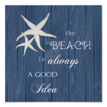Beach Good Idea Starfish Blue Wood Poster