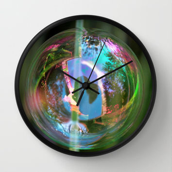 Rainbow Bubble Wall Clock by KirbyLKoch | Society6