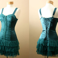 Belladonna Dress / Ultimate Statement and Party Dress, Corset Bodice Style Top, Ruffles with Lace