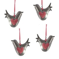 Gingham Heart Dove Hanging Decoration