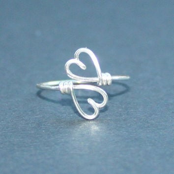 Wire Heart To Heart Ring - Double Hearts Ring Adjustable