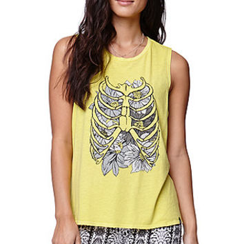 Volcom Skeleto Muscle Tank - Womens Tee - Yellow -