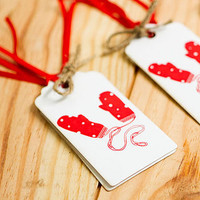 Christmas Gift Tags 'Mitts Off' White