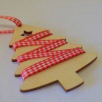 Gingham Ribbon And Wooden Tree Tag