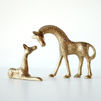 Brass Vintage Giraffe Pair Mother and Baby Vintage Figurines