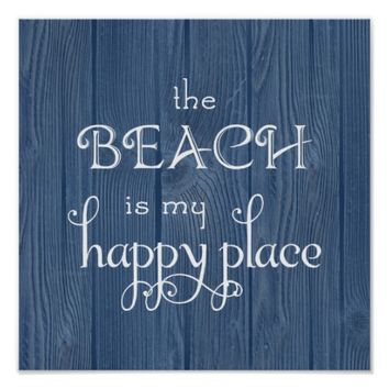 Beach Happy Place Blue Wood Poster