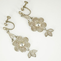 Vintage Filigree Earrings Flower Silver Toned Dangle