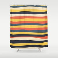 Collection One: Perfectly imperfect stripes Shower Curtain by LeanneSari