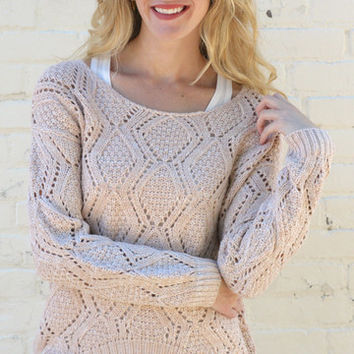 Diamond Knit High Low Sweater - Oatmeal – H.C.B.