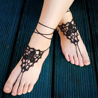 Black barefoot sandals Summer Beach Pool Dance Party Sexy Yoga Punk Twilight Dark Gothic Fetish Vamp Wrist Knitting Crochet