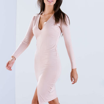 V Sleek Slit Bodycon Dress