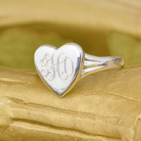 SALE Sterling Silver Heart Ring - Heart Ring - Silver Heart Ring - Silver Ring - Sterling Ring - Heart Jewelry