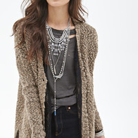 FOREVER 21 Wool-Blend Boucle Cardigan Taupe/Black