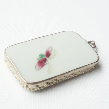 Antique Chinese Rectangle Porcelain Pendant, Qing Dynasty With Loop, White Background Rectangular Porcelain Chinese Pendant