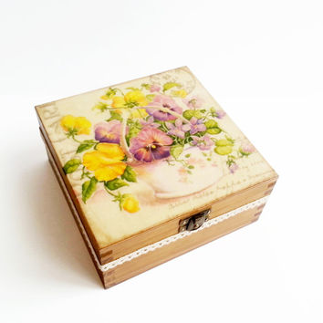Decoupage wooden tea box sping flowers with pansies cotton lace butterfly gift idea patinated antiqued box romantic style