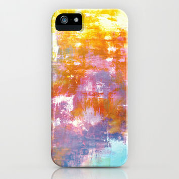 OFF THE GRID 3 Colorful Pastel Neon Purple Rust Yellow Abstract Watercolor Acrylic Textural Painting iPhone & iPod Case by EbiEmporium