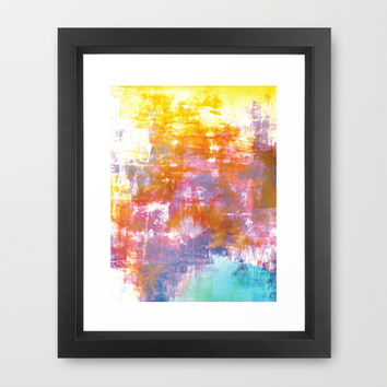 OFF THE GRID 3 Colorful Pastel Neon Purple Rust Yellow Abstract Watercolor Acrylic Textural Painting Framed Art Print by EbiEmporium