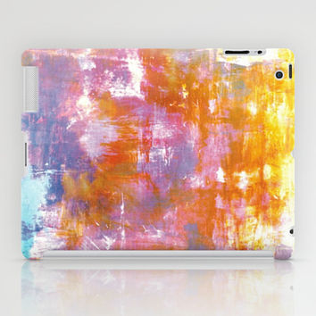OFF THE GRID 3 Colorful Pastel Neon Purple Rust Yellow Abstract Watercolor Acrylic Textural Painting iPad Case by EbiEmporium