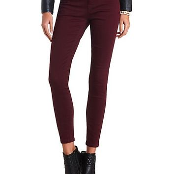 "Refuge ""Skin Tight Legging"" Colored Skinny Jeans - Wine"