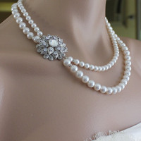 Pearl Bridal Necklace, Vintage Crystal Wedding Necklace,  Wedding Jewelry ANAIS 2