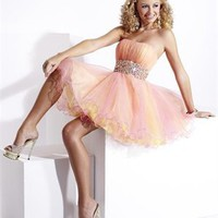 Strapless beaded tulle pink yellow short Prom Dresses 2012 PDM345