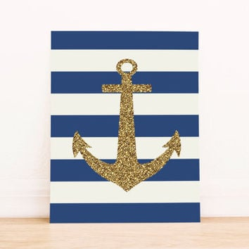 Gold Anchor with Navy Stripes PRINTABLE ART Dorm Decor Apartment Art Office Art Nautical Art