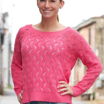 Boatneck Open Knit Sweater