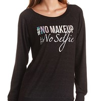 NO MAKEUP HOLOGRAPHIC TUNIC SWEATSHIRT