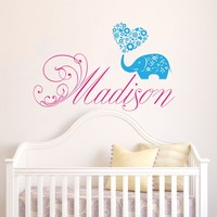 Personalized Custom Girl Boy Name Wall Decal Vinyl Sticker Decals Art Home Decor Murals Lettering Vinyl Saying Wall Decal Monogram Childrens Nursery Baby Name Wall Decals Elephant Floral Heart V968