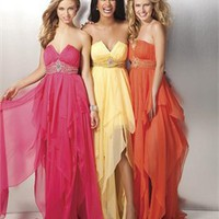 A-line strapless v-neck beaded orange yellow red tulle Prom Dresses 2012 PDM361