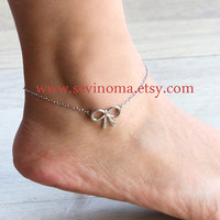 bow knot anklet, Delicate simple everyday jewelry