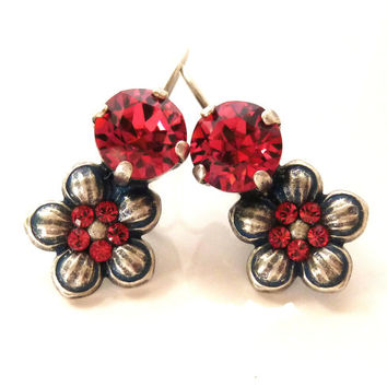 Swarovski crystal and flower drop earrings-  Padparadscha super cute, GREAT PRICE, Siggy designer inspired earrings