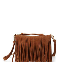 FOREVER 21 Faux Suede Fringed Crossbody