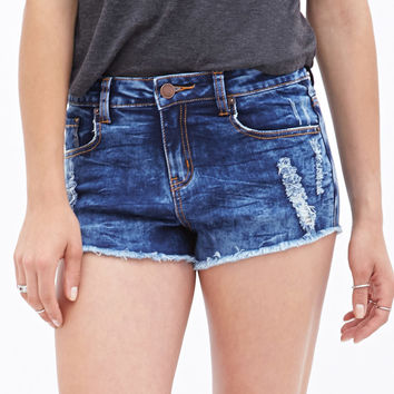 Faded Distressed Denim Cutoffs