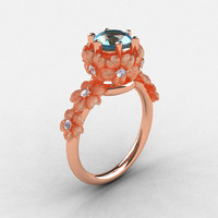 14K Rose Gold Aquamarine Diamond Flower Wedding Ring, Engagement Ring NN109S-14KRGDAQ