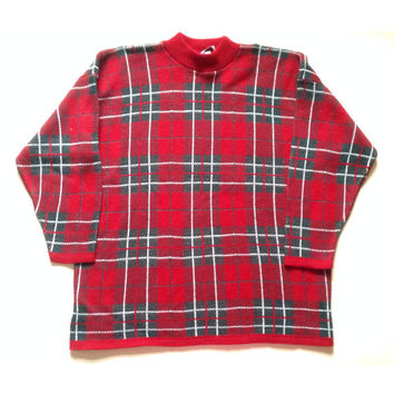 XL 80s Ugly Christmas Sweater - Plaid Sweater - Red Green and White Sweater  - Ugly Christmas Sweater - Made in USA - Ugly Sweater Party