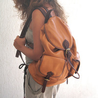Handmade leather backpack ,Unisex, named Tania MADE TO ORDER