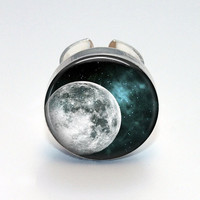 Round Glass Bezel Ring Moon Adjustable Moon Ring (A3646R)