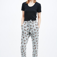 BDG Fox Print Joggers in Grey - Urban Outfitters